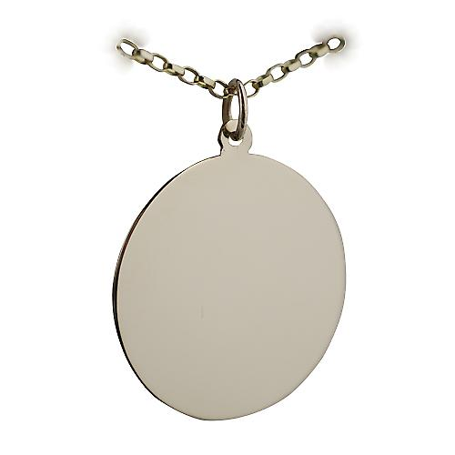 9ct Gold 26mm plain round Disc with a belcher Chain 16 inches Only Suitable for Children