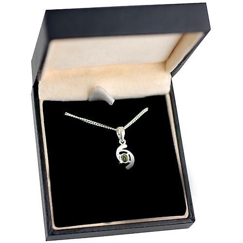Silver 12x7mm Pendant set with 4mm round Peridot on a Chain 20 inches