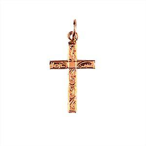 9ct Rose Gold 20x13mm hand engraved solid block Cross