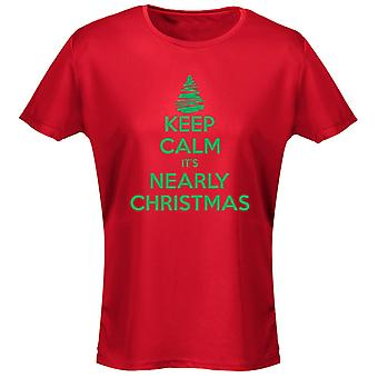 Keep Calm It's Nearly Christmas Xmas Womens T-Shirt 8 Colours (8-20) by swagwear