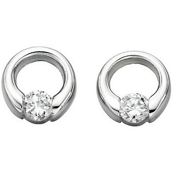 Beginnings Cubic Zirconia Open Disc Stud Earrings - Silver/Clear