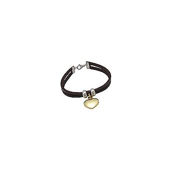 Heart of steel gold and Brown Leather Bracelet