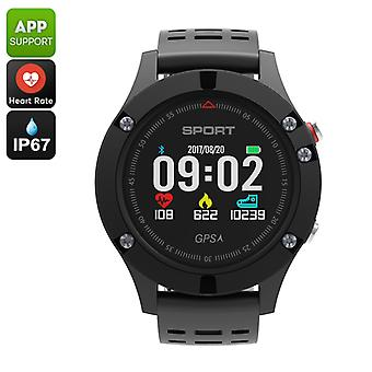 No.1 F5 Bluetooth Watch - Pedometer, Sleep Monitor, Heart Rate, Barometer, Thermometer, Altimeter, IP67, APP (Grey)