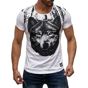 Men's short-sleeved shirt O-Neck T-Shirt WOLF Print Strass Stones