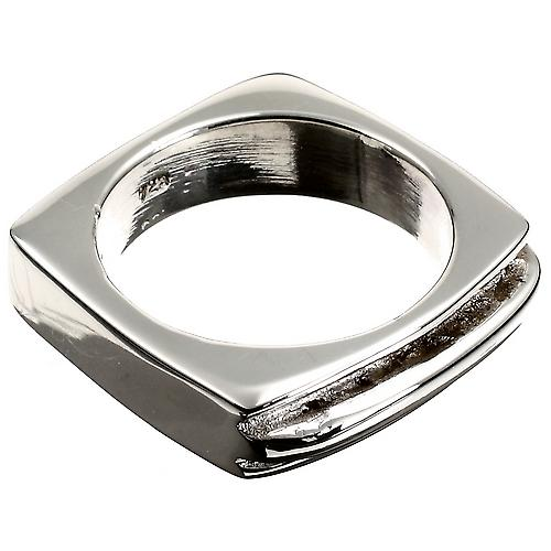 Square Sculpture Silver Ring