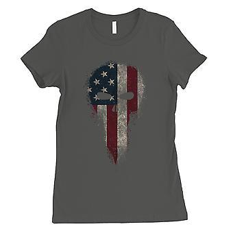 Vintage American Skull Womens Cool Grey T-Shirt Graphic Skull Shirt