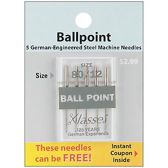 Klasse Ball Point Machine Needles-Size 12/80 5/Pkg