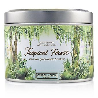 The Candle Company Tin Can 100% Beeswax Candle with Wooden Wick - Tropical Forest (8x5) cm