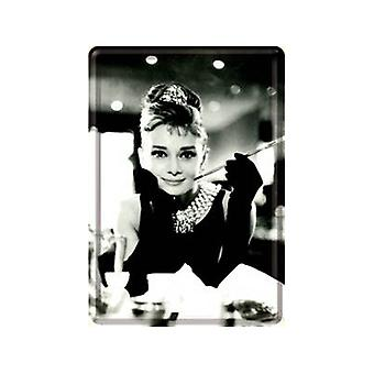 Audrey Hepburn Metall Postkarte / Mini-Zeichen