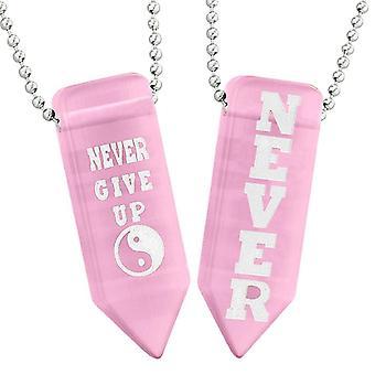 Aldrig Give op amuletter Yin Yang par bedste venner Pink simulerede Cats Eye pilespids halskæder