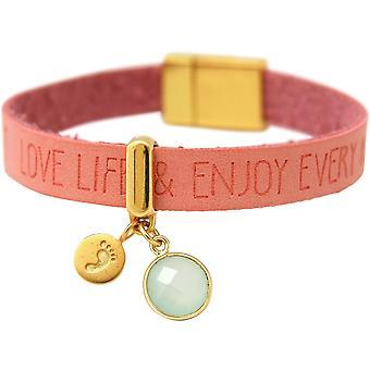 Gemshine Armband Fußabdruck 925 Silber Vergoldet WISHES Rosa Meeresgrün