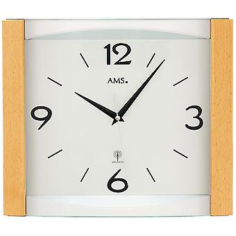 AMS 5616 wall clock radio radio controlled wall clock analog wood beech solid with glass