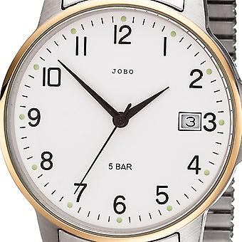 JOBO men's wristwatch quartz analog bicolor stainless steel cable gold plated date