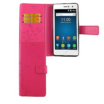 Lâmina ZTE L7 tampa do saco protetor caso de telefone celular Flip caso slot rosa