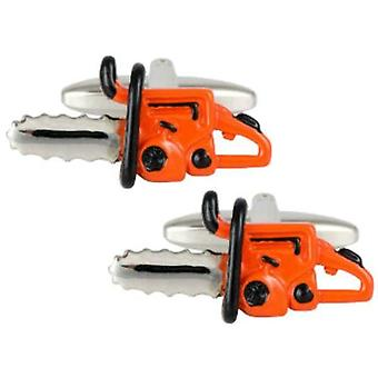 Zennor Chainsaw Cufflinks - Orange/Silver
