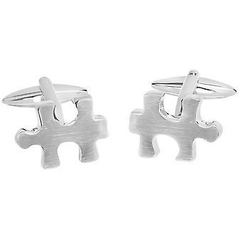 Zennor Puzzle Piece Cufflinks - Silver