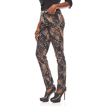 Ashley brooke flocculated ladies print trousers in the Leo Print black