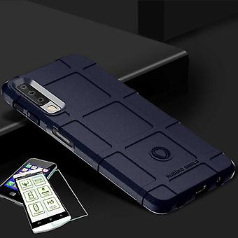 For Samsung Galaxy A7 A750F 2018 shield case TPU silicone blue + 0.26 mm 2.5 d H9 tempered glass bag case cover sleeve