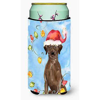 Christmas Lights Chocolate Labrador Retriever Tall Boy Beverage Insulator Hugger