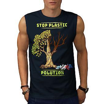 Nature Polution Earth Men NavySleeveless T-shirt | Wellcoda