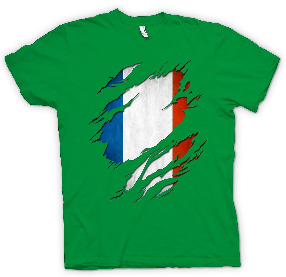 Mens T-shirt - France Tricolore Flag Grunge Ripped Effect
