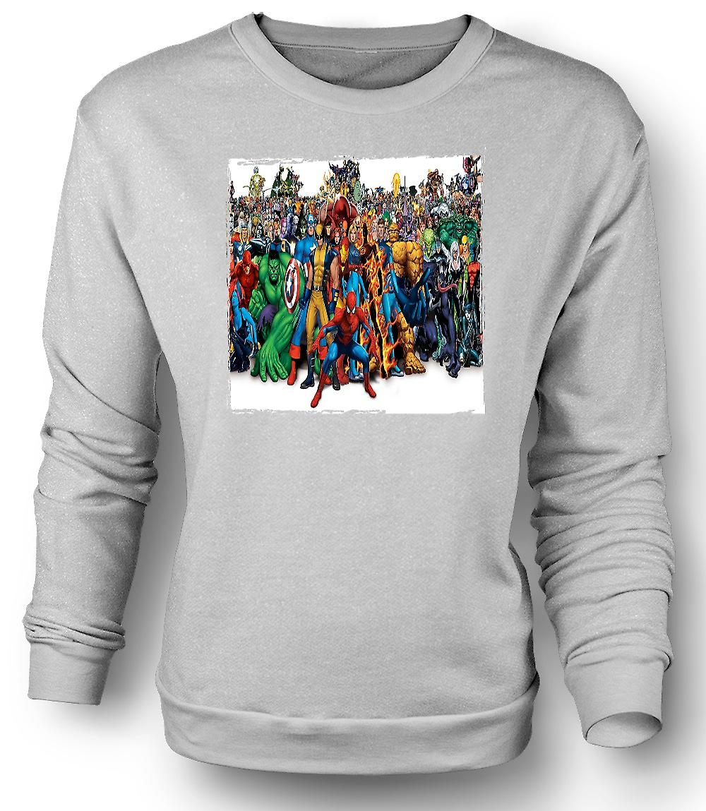 Mens Sweatshirt Marvel Comic Hero grupp - porträtt