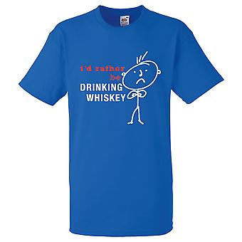 Mens I'd Rather Be Drinking Whiskey Royal Blue Tshirt