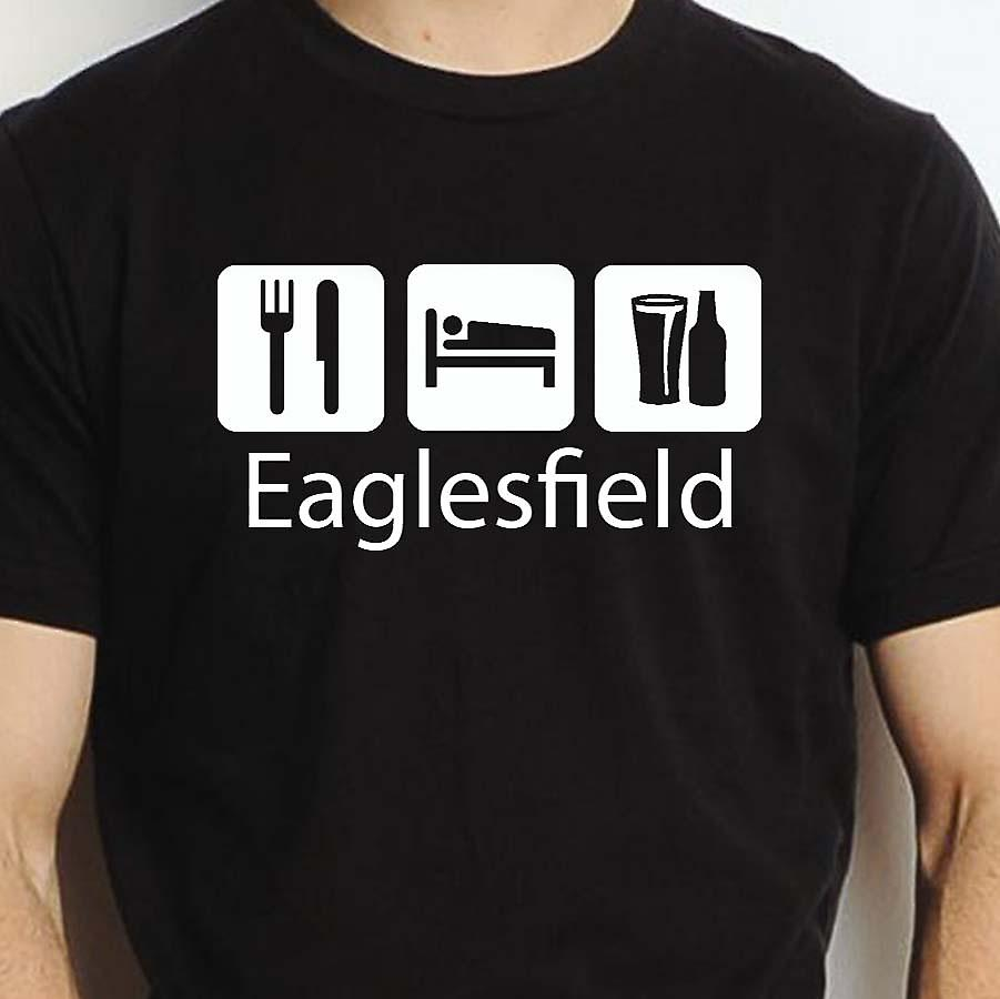 Eat Sleep Drink Eaglesfield Black Hand Printed T shirt Eaglesfield Town