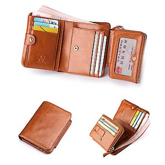 Hautton Leather Tan Tri Fold Wallet, Double Stud Fasten 9 credit Card Slots, Micro SD, ID Pouch, Coin Compartment With Hidden Notes Section