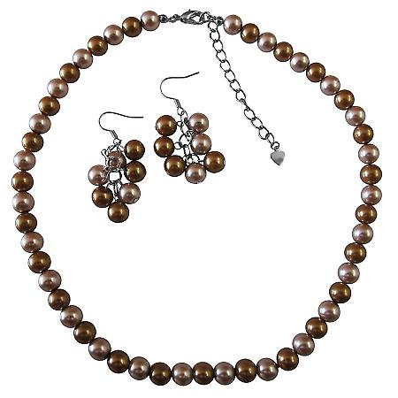 Flower Girl Prom Combo Latte Pearls & Champagne Pearls Necklace Sets
