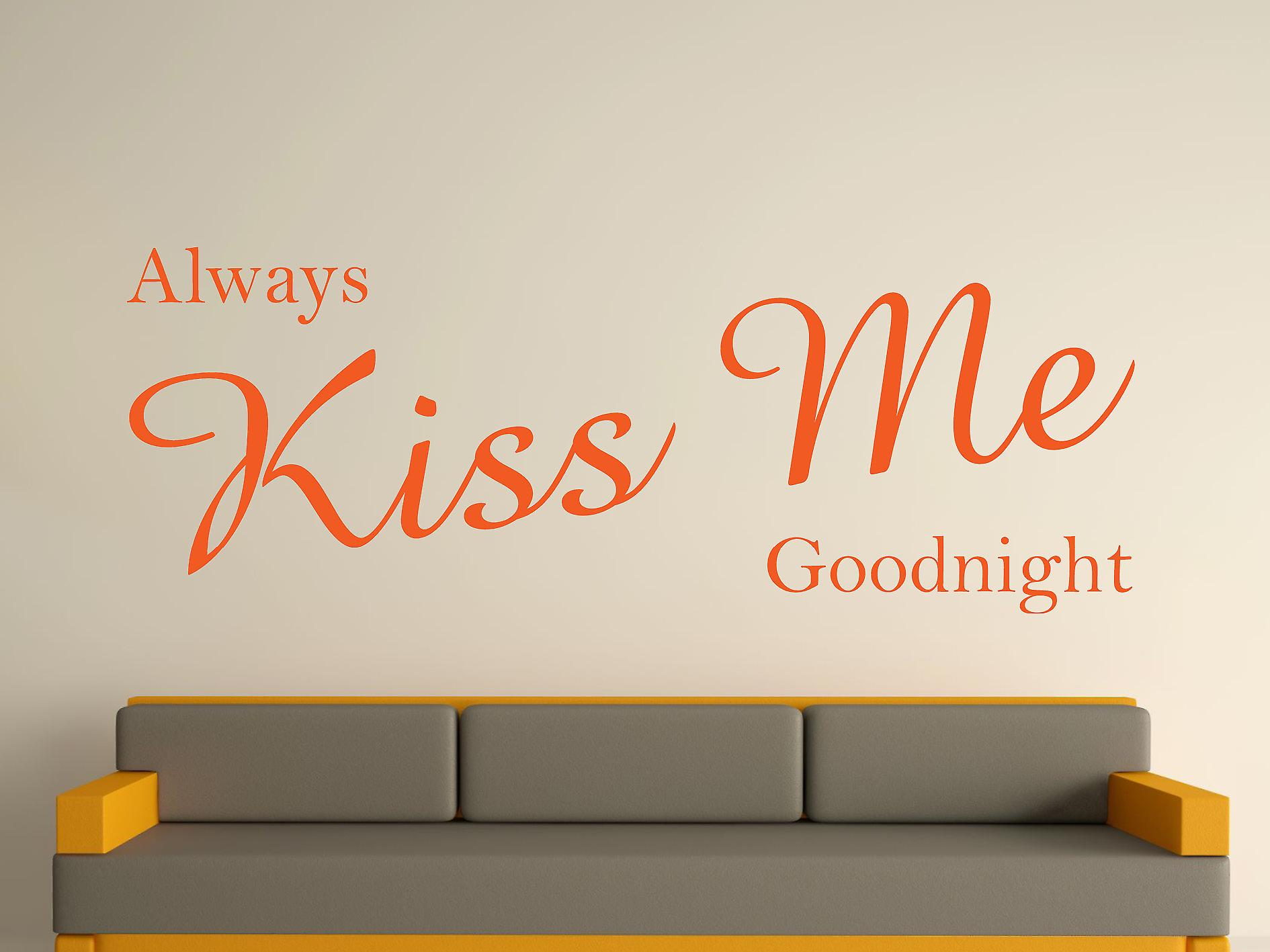 Altijd Kiss Me Goodnight Wall Art Sticker - oranje