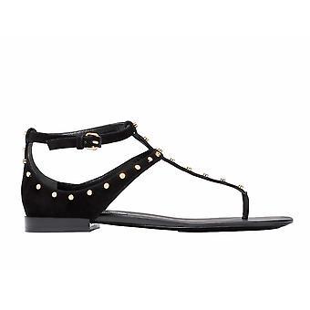 Balenciaga Black Suede Flip Flops