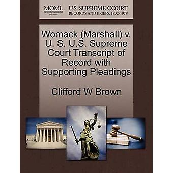 Womack Marshall v. U. S. US Supreme Court transkripsjon av posten med støtte prosesskrift av Brown & Clifford W