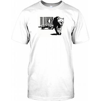 Banksy - Barcode Leopard Escaping Kids T Shirt