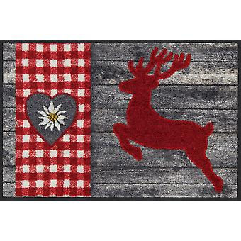 Salon lion doormat deer Alpine red washable door rug runner