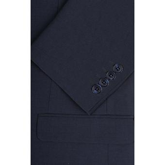 Dobell Mens Oxford blauen Anzugjacke zugeschnitten Fit Kerbe Revers