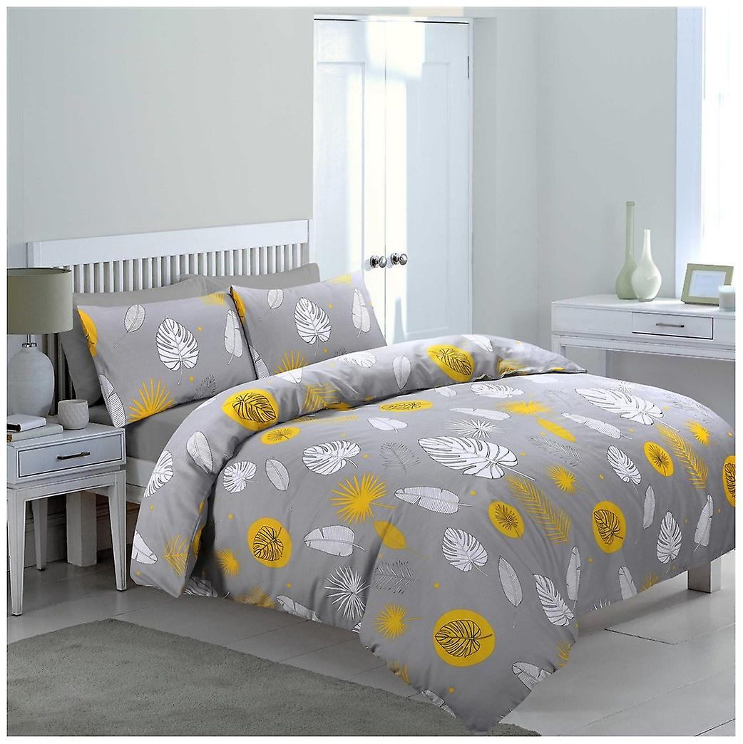 Bedding Fine Cover Reversible Printed Feathers Quilt Leaf Duvet Set tQdhrsC