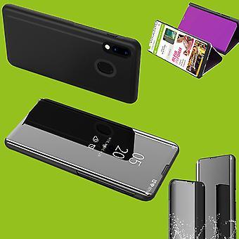 For Samsung Galaxy A40 5,9 tommer klart Vis speil Smartcover svart beskyttende etui deksel etui tilfelle sak sak tilfelle ny sak fall Wake våkne funksjon