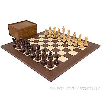 Atlantic Grand Rosewood Chess Set with Wooden Case
