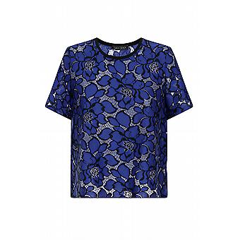 Girls On Film Cobalt Blue Floral dentelle Top