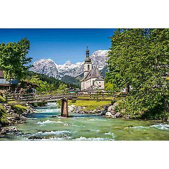 Papier peint fresque Alpes bavaroises