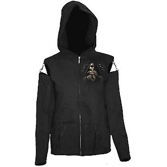Spiral Direct gothique BONE FINGER - maille manches Full Zip Hoody Black| Reaper| Crânes