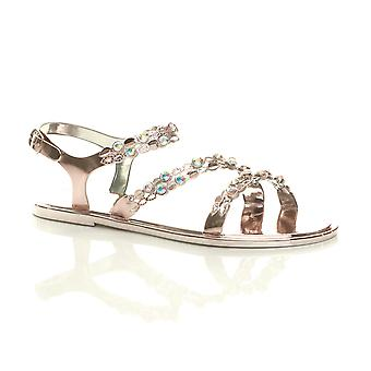 Ajvani Womens flat diamante strappy buckle summer jelly beach sandals