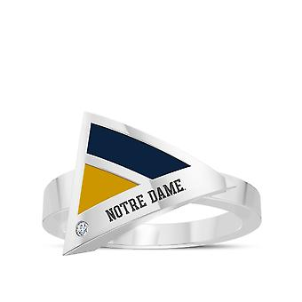 University Of Notre Dame - Notre Dame Engraved Diamond Geometric Ring In Blue And Yellow