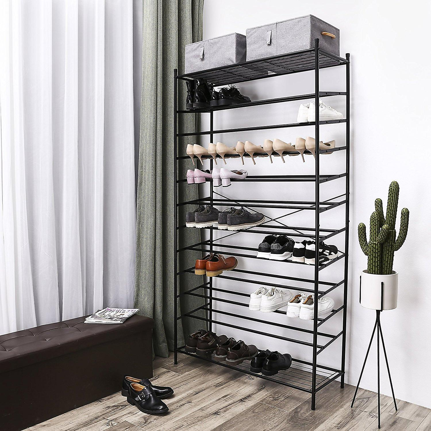 Metal shoe rack with 12 grilles