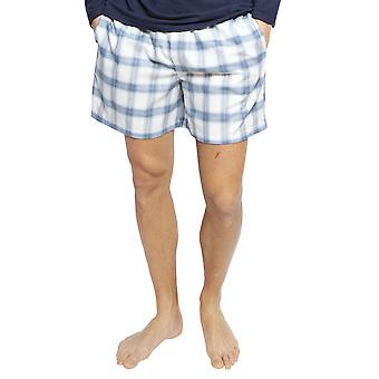 Cyberjammies 6425 Uomini's Harper Blue Mix Check Cotton Pyjama Breve