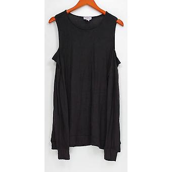 Anybody Women's Top Loungewear Brushed Hacci Cold Shoulder Black A293071