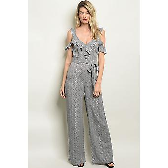 Womens black off white jumpsuit