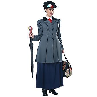 Englische Nanny Mary Poppins viktorianischen Magie Maid Buch Woche Damen Kostüm Plus
