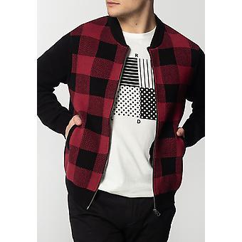 Merc APOLLO, Men's Chunky Cotton Cardigan with Large Check Pattern